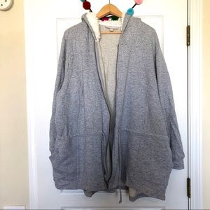 Woman Within Tops - Woman Within Gray Hoodie Zip Up Pockets NWOT